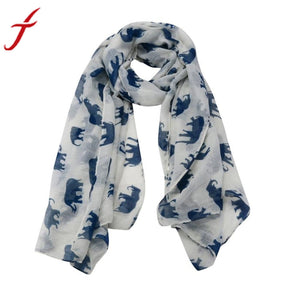 6 Colors Fashion Lady Scarf Womens Long Cute Elephant Print Scarf Wraps Shawl Casual	Party Soft Scarves#LSN