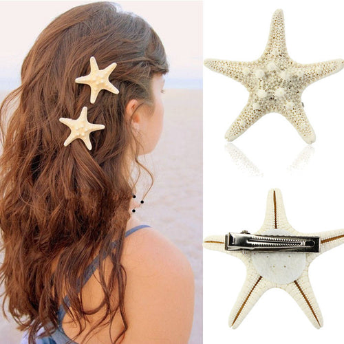 Europe Women Lady Girls Pretty Natural Starfish Star Beige Hair Clip Accessories