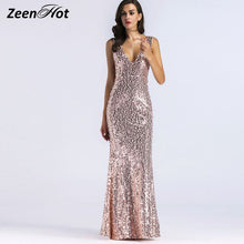 Sexy V Neck Backless SequinedMermaid Long Dress - The Perfect Match