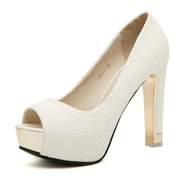 Fashion Slip On Women Pumps Peep Toe Square Heel Platform High Heels Shoes - The Perfect Match