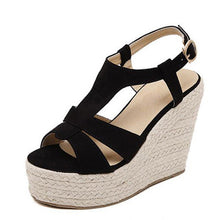 Gladiator Flock Solid Buckle Super High Thick Wedges Platform - The Perfect Match