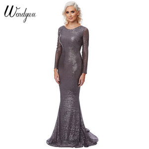 Sexy Open Back Long Sleeve Solid Sequined Mermaid Long Dress - The Perfect Match