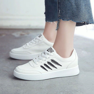 Woman shoes Non-slip Feather Embroidery PU leather Sneakers - The Perfect Match