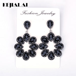 Black Water Drop Crystal Pave Rhinestone Big Hyperbole - The Perfect Match