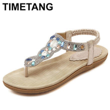 T-strap sandals elastic band flowers rhinestone leather - The Perfect Match