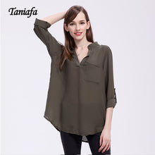 V-Neck Chiffon Top with folded sleeves - The Perfect Match