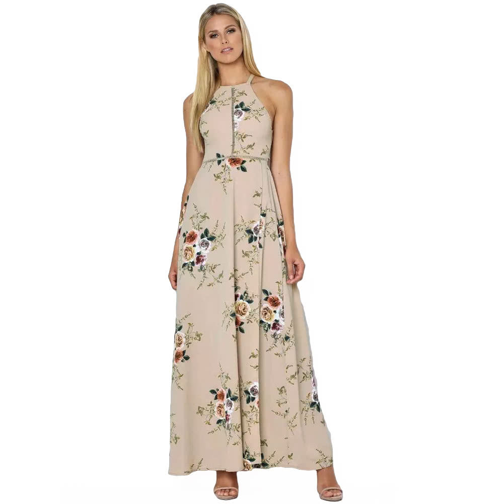 Women Chiffon Dress Floral Print Halter Sleeveless Split Backless Hollow Out Beach Maxi Gown Elegant Party One-Piece - The Perfect Match