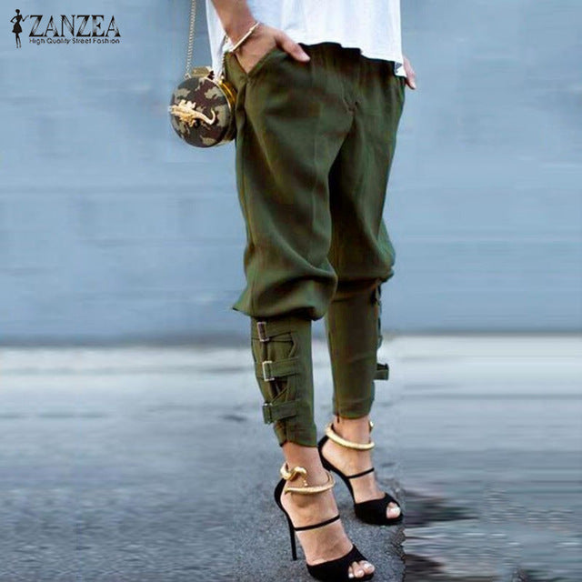 Harem Pants Casual Loose Elastic Waist Long Pants Leisure Trousers Army Green Plus Size