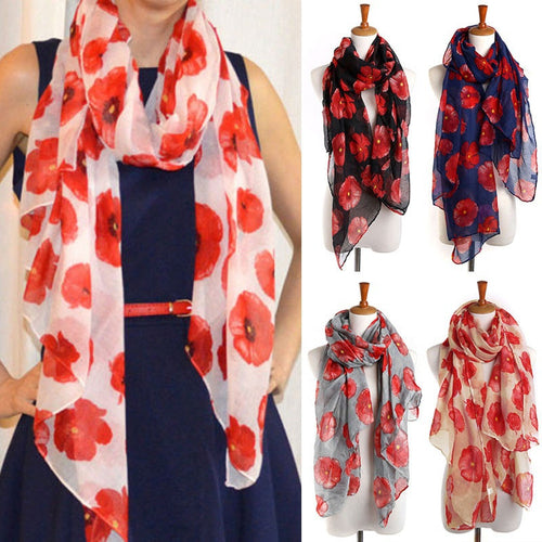 Ladies Poppy Flower Print Fashion Scarf