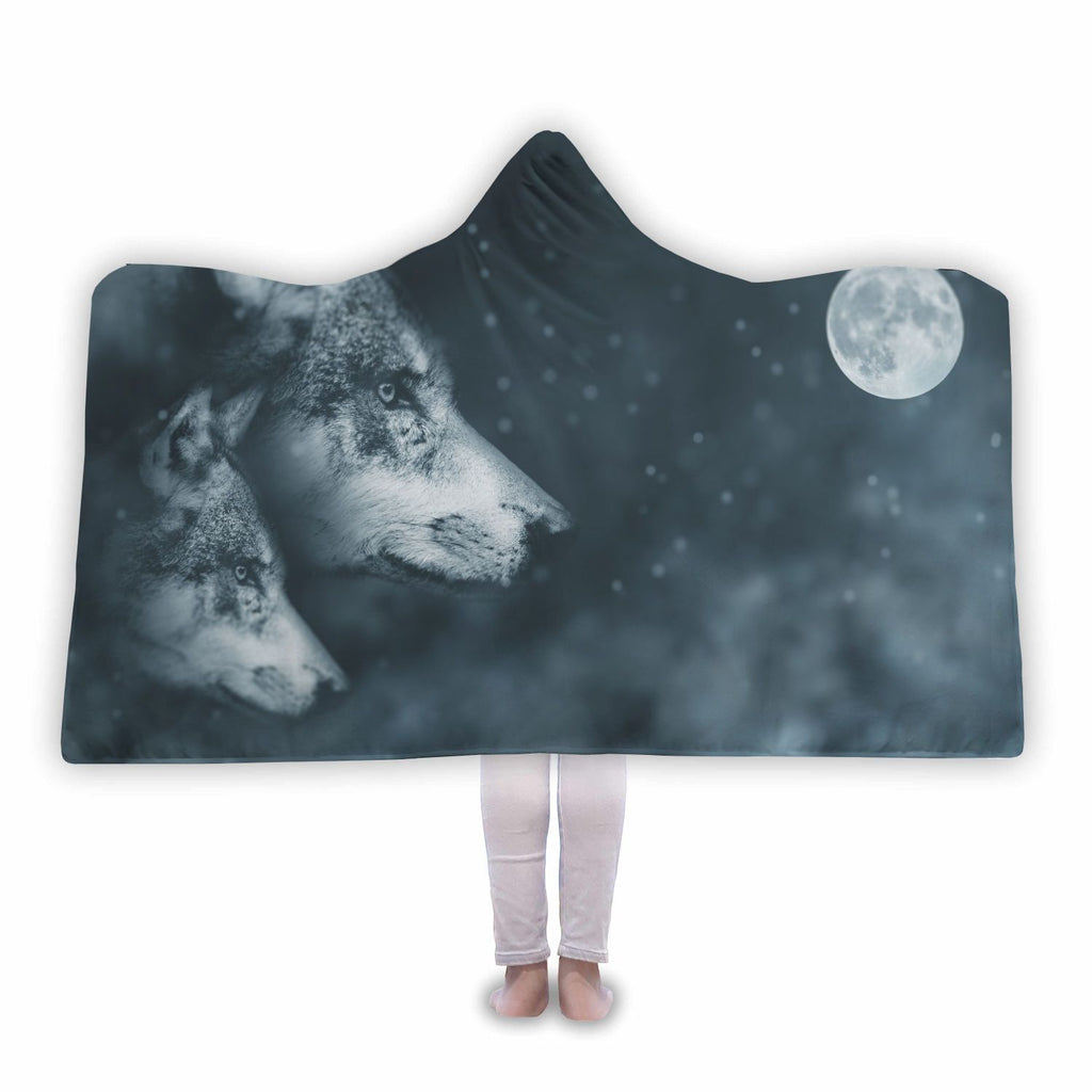 Wolves Full Moon Hooded Blanket