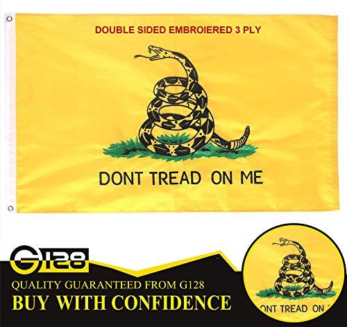Gadsden Dont Tread On Me Flag Double Sided Embroidered Flag with Brass Brommets