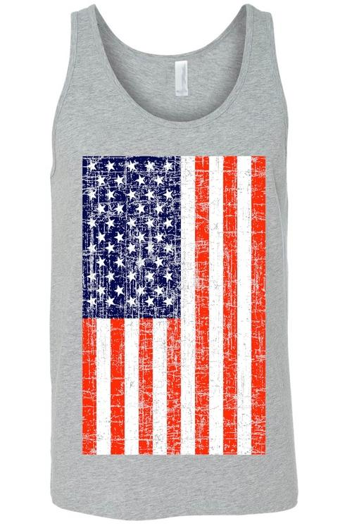 USA Flag Tank Top Shirt Distressed American Pride
