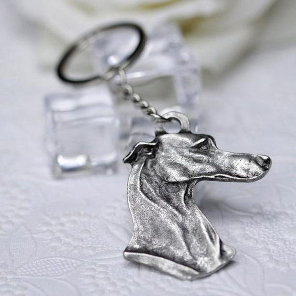 Greyhound Keyring in Antique Silver