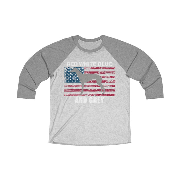 Red White Blue And Grey American Greyhound Baseball T-Shirt (Unisex) - Grey Lives Matter Shop
