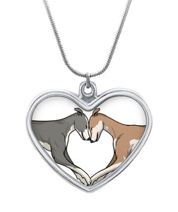Greyhound Love Heart Shaped Necklace Heart Necklace - Grey Lives Matter Shop