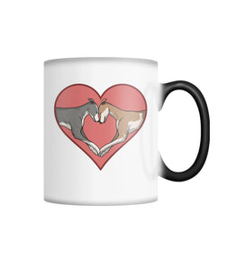 Greyhound Love Heart Color Changing Mug With Pink Heart - Grey Lives Matter Shop