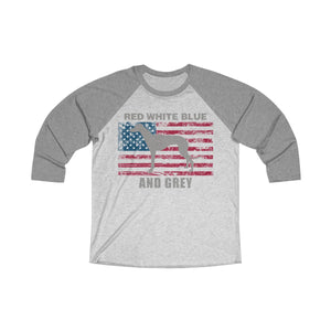 Red White Blue And Grey American Greyhound Baseball T-Shirt (Unisex) with Grey Lettering - Grey Lives Matter Shop