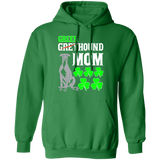 Green Greyhound Mom Pullover Hoodie 8 oz. St. Patricks Day Special - WHTTXT - Grey Lives Matter Shop