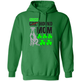 Green Greyhound Mom Pullover Hoodie 8 oz. St. Patricks Day Special - BLKTXT - Grey Lives Matter Shop