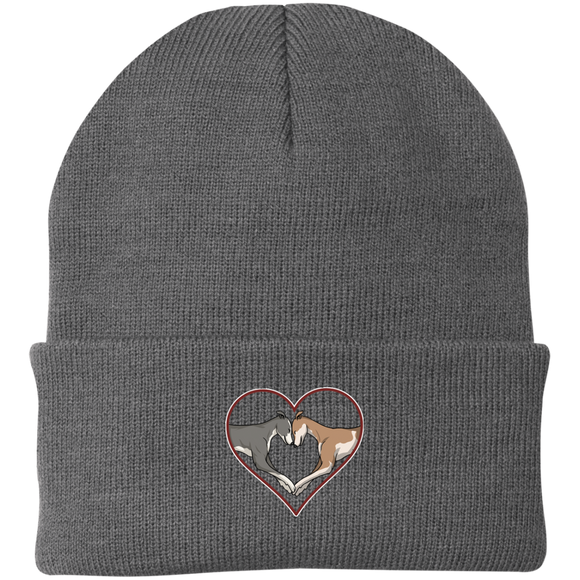 Greyhound Love Heart Custom Embroidered Knit Cap - Grey Lives Matter Shop