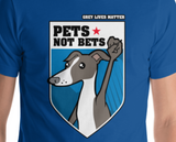 Pets Not Bets Shield - Short-Sleeve Unisex T-Shirt - Grey Lives Matter Shop