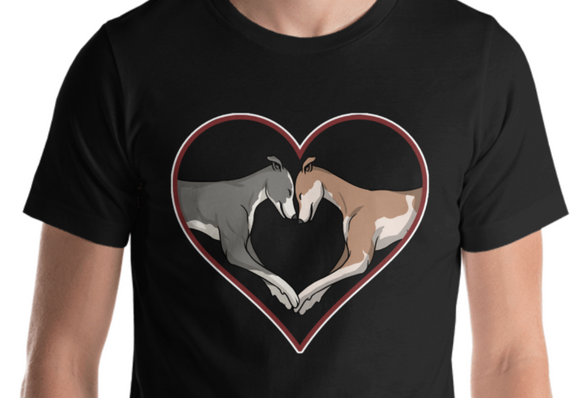 Greyhound Love Heart Short-Sleeve Unisex T-Shirt, SCH - Grey Lives Matter Shop