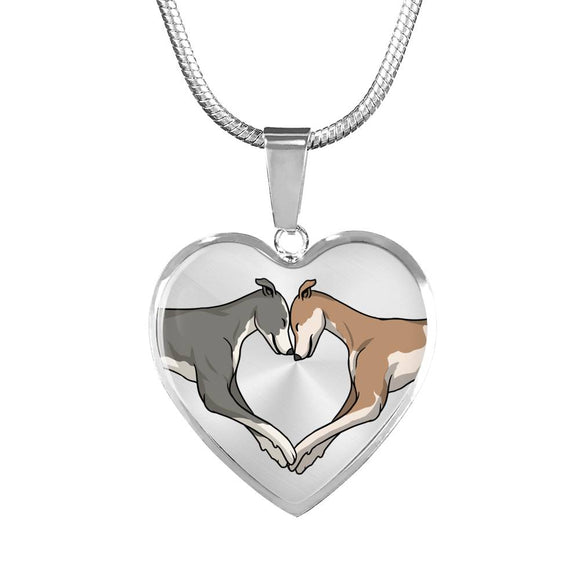Luxury Greyhound Love Heart Necklace With Engraving Option - Grey Lives Matter Shop