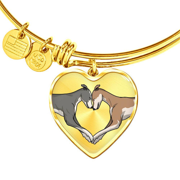 Luxury Greyhound Love Heart Pendant Bangle Bracelet with Engraving Option - Grey Lives Matter Shop