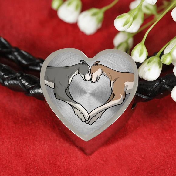 Luxury Greyhound Love Heart Woven Braided Bracelet and Charm - Grey Lives Matter Shop