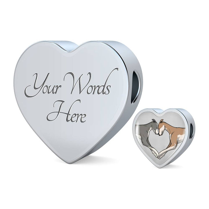 Luxury Greyhound Love Heart Bracelet and Charm with Engraving Option - Grey Lives Matter Shop