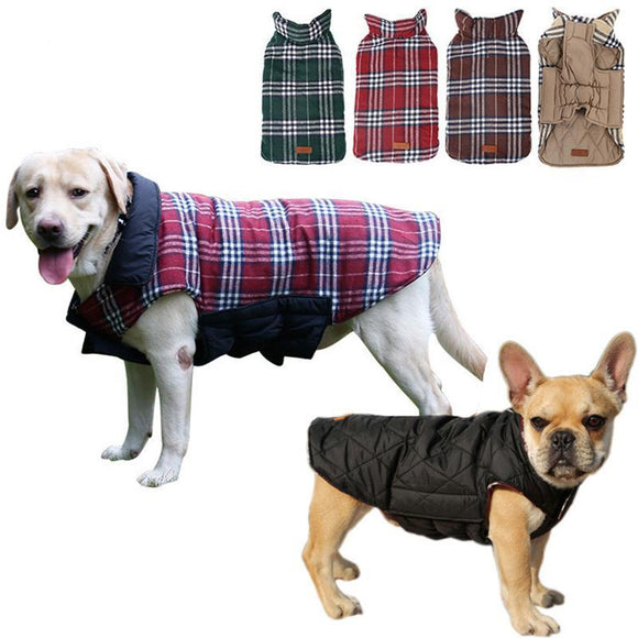 Waterproof Windproof Reversible Plaid Dog Vest Classy and Cozy Winter Coat (sizes: XS - 3XL ) - Grey Lives Matter Shop