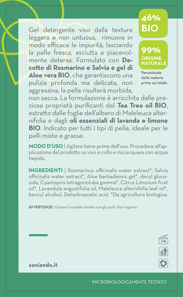 Gel Detergente Viso Salvia, Rosmarino e Tea Tree Oil