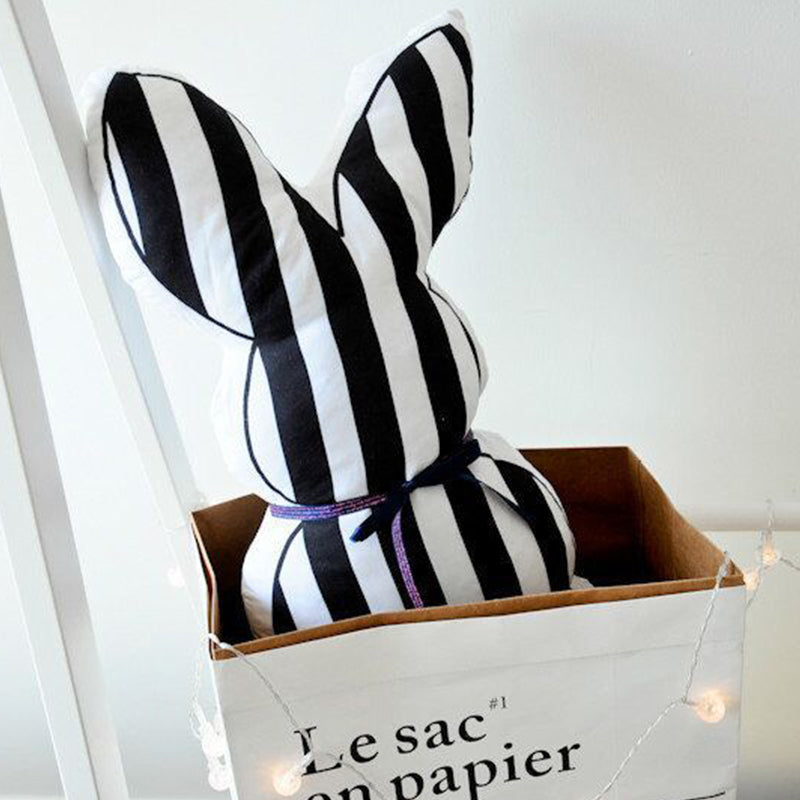 Stripe B&W Bunny Cushion