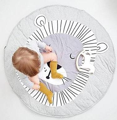 Lion Cub drawing printed soft woven activity and play mat rug for baby and children room gray and white