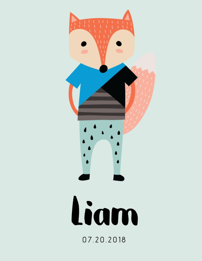 Scandi Fox Personalized Print