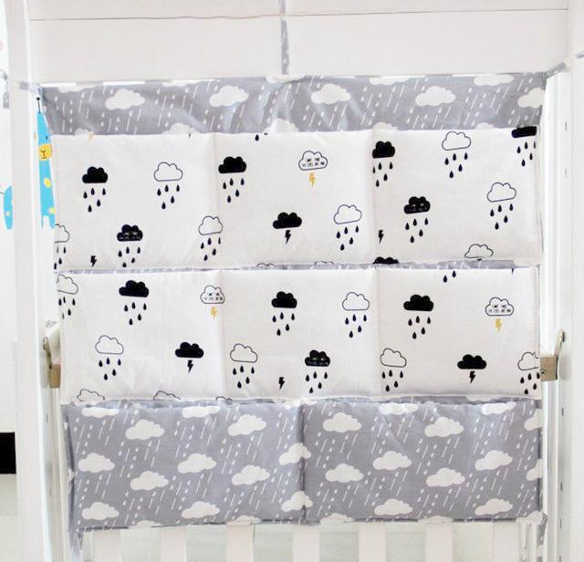 Rainy Clouds Crib & Changing Table Organizer