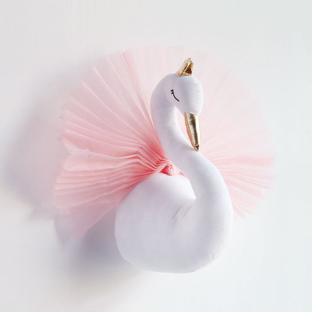 Majestic pink and white swan with gold crown and tulle pink skirt faux taxidermy swan wall hanging decor for children girl room