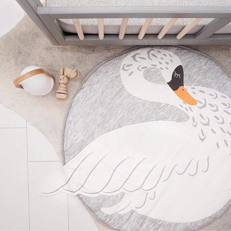 Swan printed activity and play mat rug for baby and children room decor