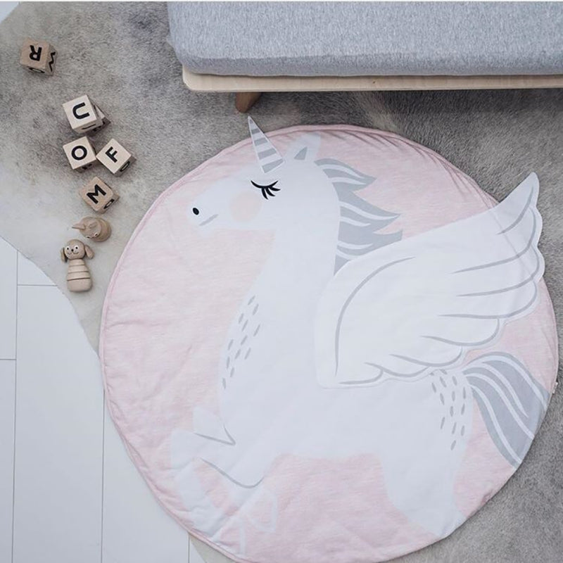 Details of pink and white woven printed and 3 D unicorn activity and play mat rug for baby and children