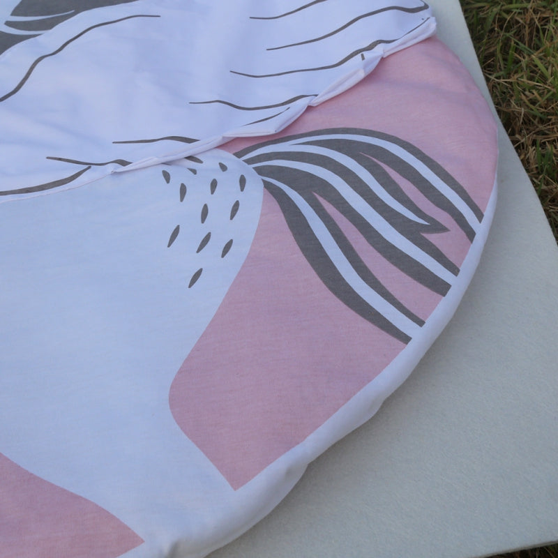 Details of pink and white printed and 3 D unicorn activity and play mat rug for baby and children