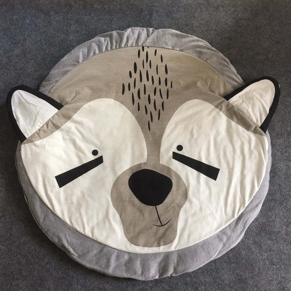 Grays and white raccoon printed soft baby activity and play mat baby and children rug room decor