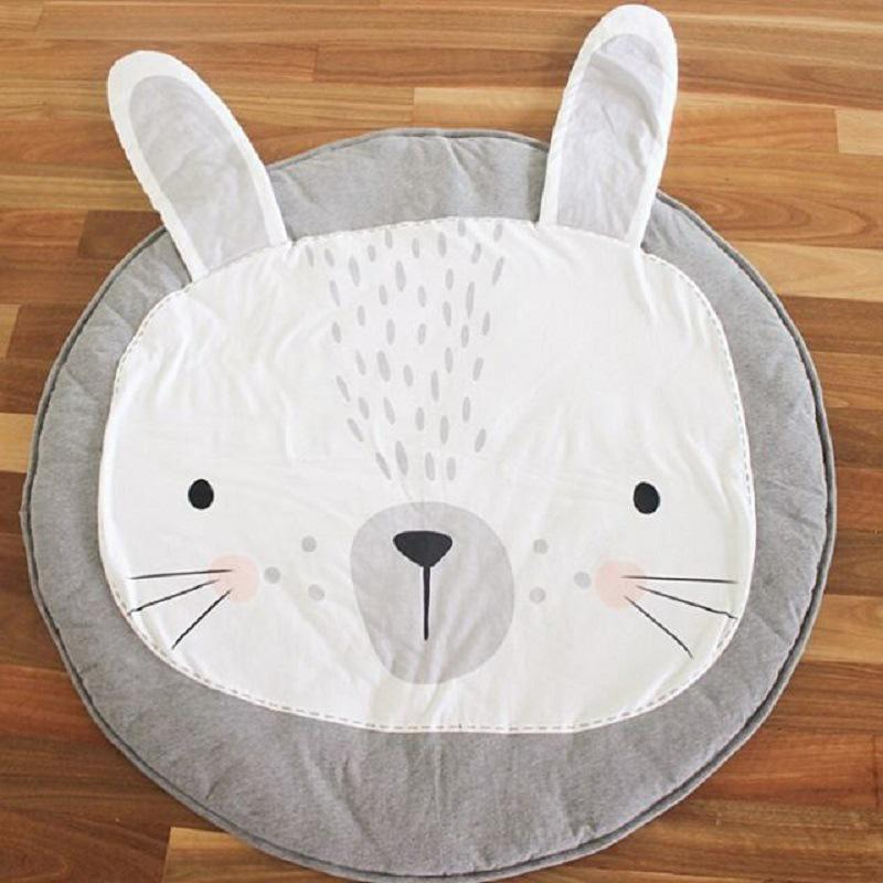 Printed gray and white bunny head play mat and activity mat rug for baby and children room