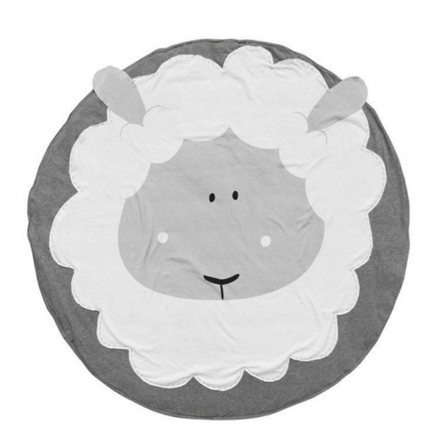 Grey and white Sheep printed woven soft activity and play mat rug for baby and children room