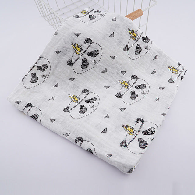 Panda with feather printed cotton swaddle receiving baby blanket