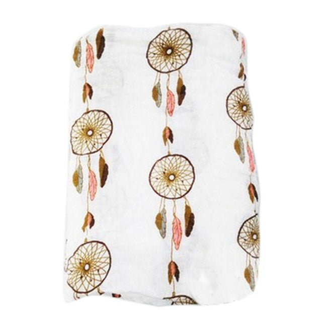 Boho dream catcher pink and tan print baby receiving blanket swaddle blanket cotton