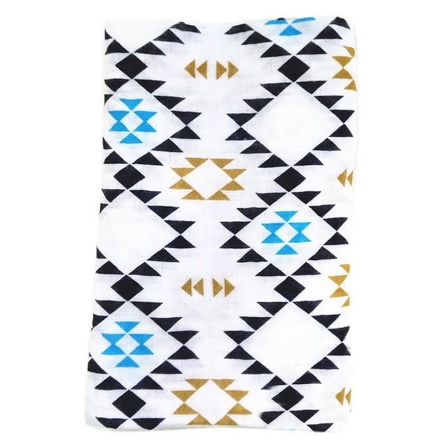 blue brown black ikat printed cotton baby receiving swaddle blanket geometric print
