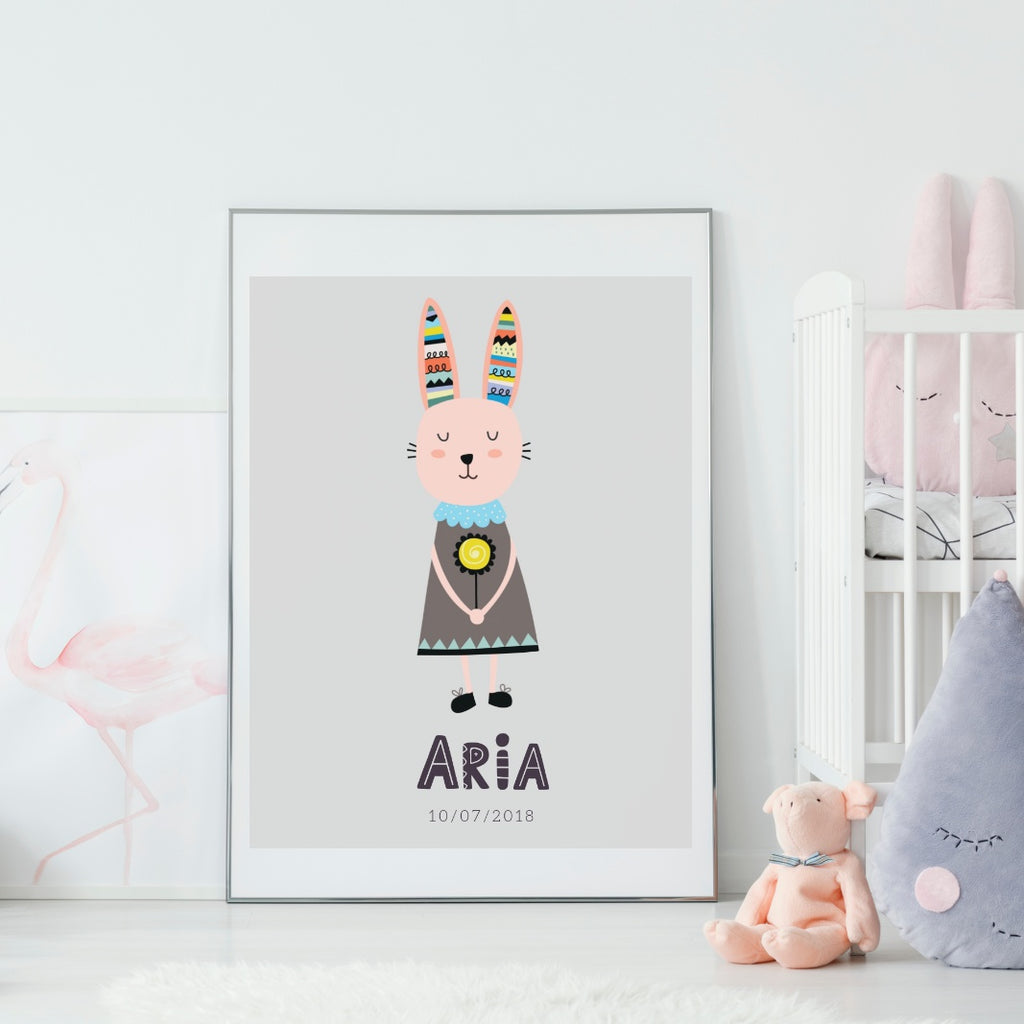 Scandi Bunny Personalized Print - Various sizes