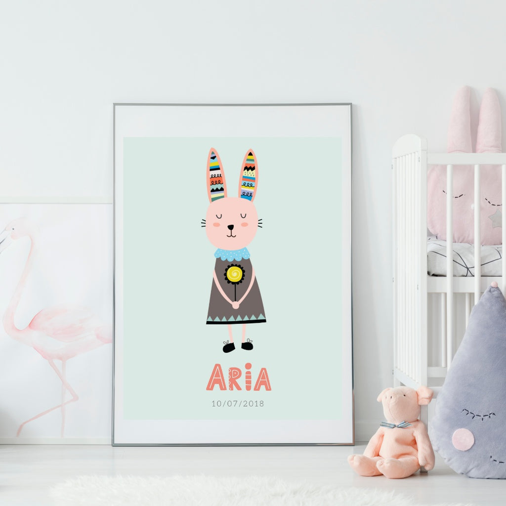 Scandi Bunny Personalized Print