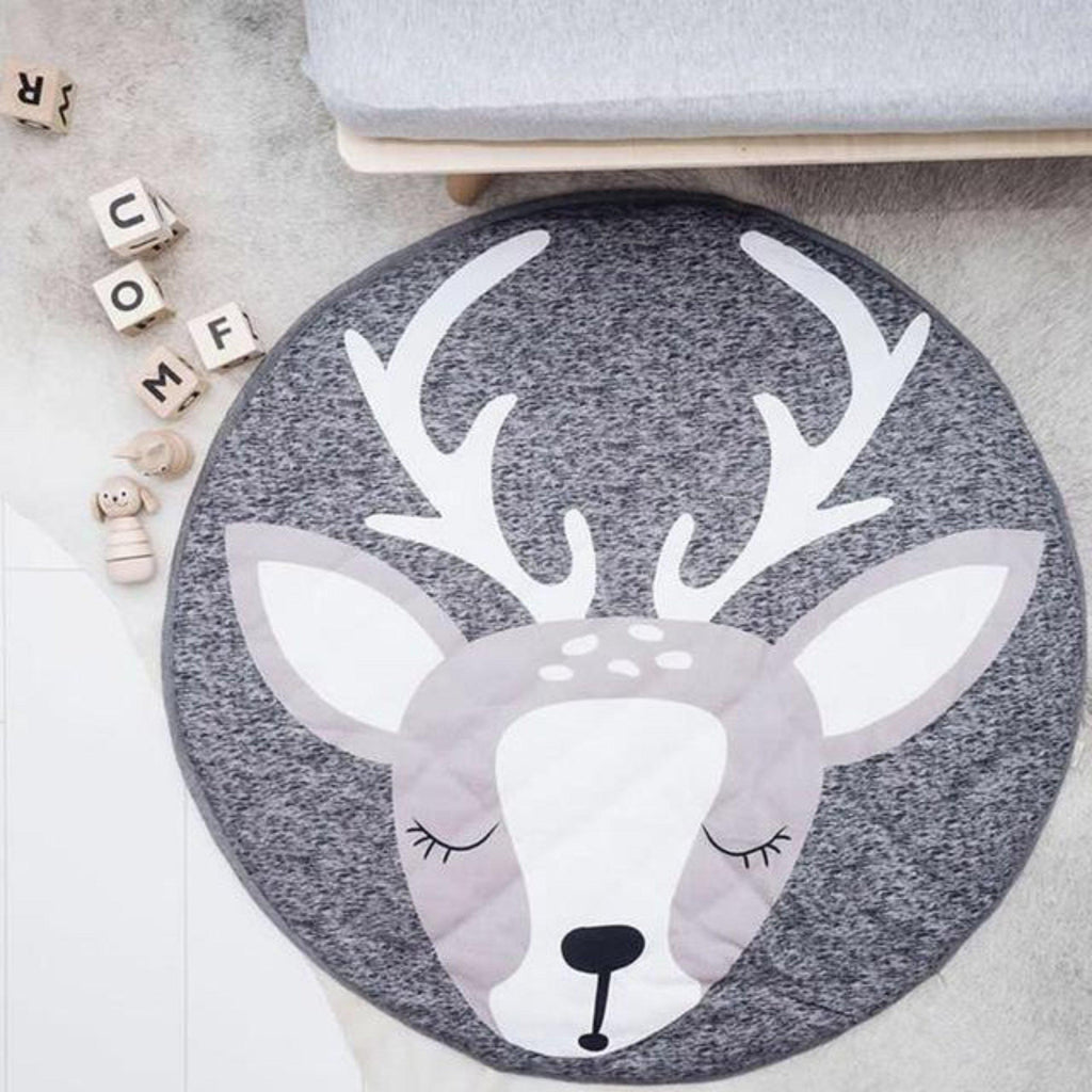 Deer printed soft woven jersey activity mat for play for baby and children room