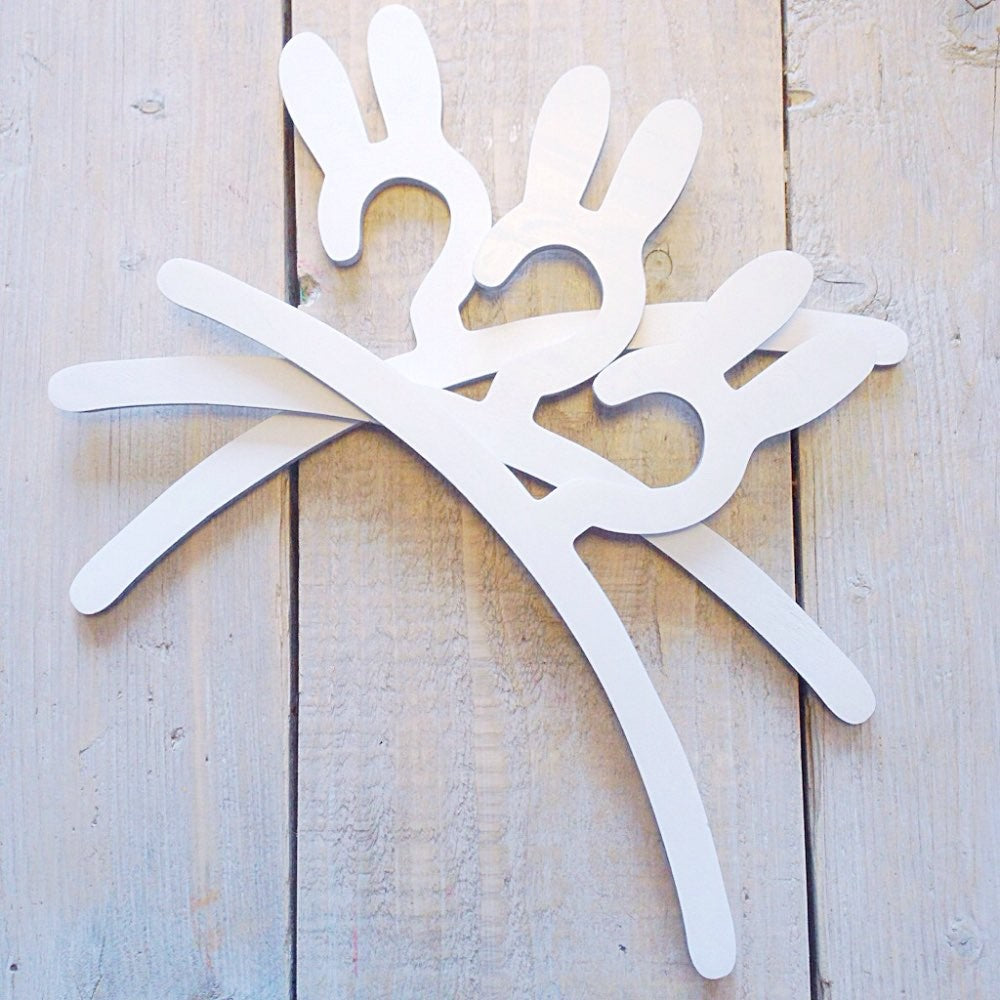 Three wood hangers bunny ears shape for children nursery and baby room and clothes